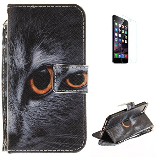 iPhone 7/iPhone 8 Flip Magnetic Leather Case [Free Screen Protector] KaseHom Half Face Cat Animals Painted Design Folio Wallet Case with [Card Slot] [Hand Strap] Slim Protective Cover Holster -