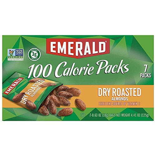 Dry Roasted Almonds - Emerald Nuts, Dry Roasted Almonds 100 Calorie Packs,0.63 Ounce, 7 Count (Pack of 12)