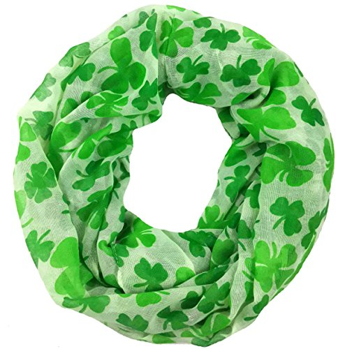 Lina & Lily Four Leaf Clover Shamrock Print Infinity Scarf for Women St Patrick Day (Large Size)