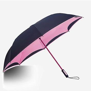 paraguas Paraguas doble reversible de la manija larga doble del paraguas, paraguas de sol del
