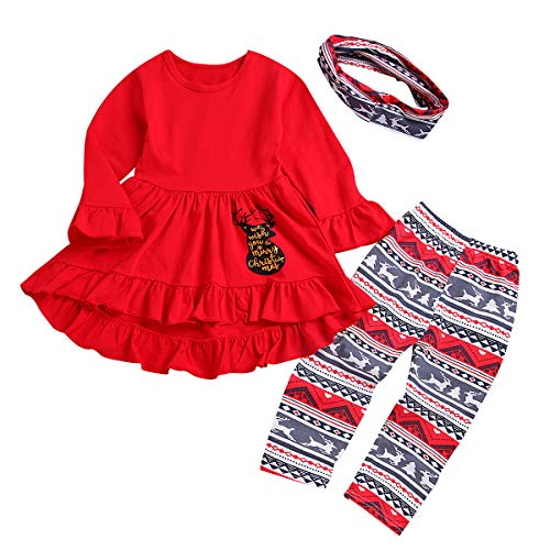 Toddler Girls 3 Pc Hi Lo Christmas Holiday Ruffle Tunic Outfit, Scarf,Buffalo Plaid Deer Hi-Low Tunic Set Dress and Leggings (Red, 100(for2-3Years))