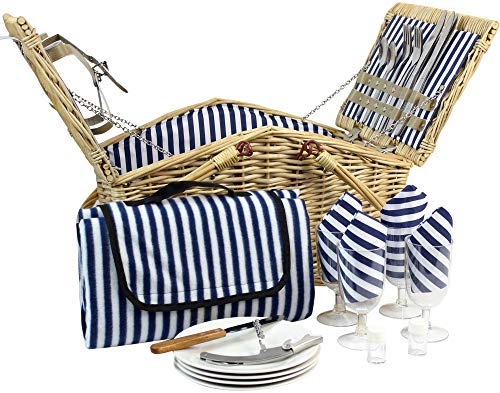 Picnic Basket Set for Men and Woman | Wicker Picnic Basket for 4 Person | Waterproof Picnic Blanket Ceramic Plates Metal Flatware Wine Glasses S/P Shakers Bottle Opener Blue Stripe Lining Kids Picnic (With Wicker White Lining Blue Baskets)
