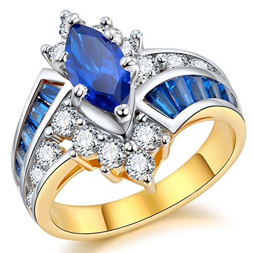 Two-tone Flashy Bypass Engagement Rings - Marquise with Round & Baguette CZ Swirl Band Size 6-9