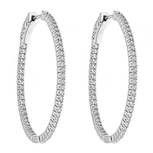 (Platinum Plated 925 Sterling Silver Round Cubic Zirconia Circle Ring Single Row Pave Hoop Earrings)