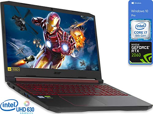 "Acer Nitro 5 Gaming Laptop, 15.6"" FHD Display, Intel Core i7-9750H Upto 4.5GHz, 32GB RAM, 2TB NVMe SSD, NVIDIA GeForce RTX 2060, HDMI, Wi-Fi, Bluetooth, Windows 10 Pro"