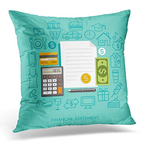 Emvency Throw Pillow Covers Case Payment Financial Statement Conceptual Flat Style Workflow Diagram Number Options Infographics Timeline Decorative Pillowcase Cushion Cover 20 x 20 -