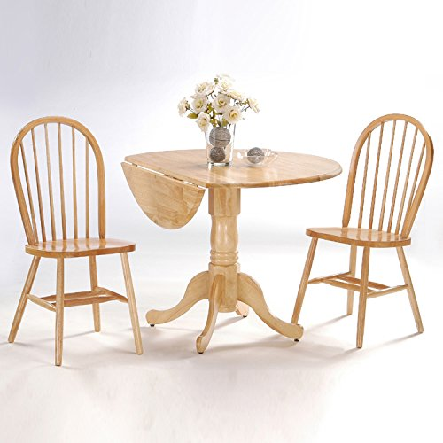 - International Concepts 3-Piece 42-Inch Dual Drop Leaf Pedestal Table with 2 Windsor Chairs, Natural Finish