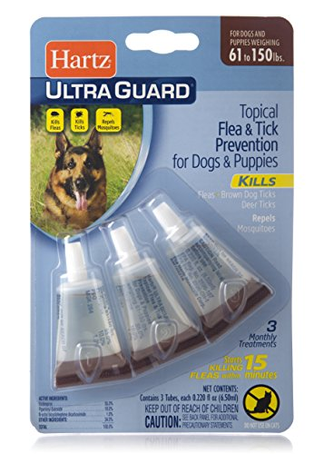 Hartz UltraGuard Flea & Tick Drops for Dogs & Puppies 61-150lbs - 3 Monthly Treatment (Best Price For Flea And Tick)