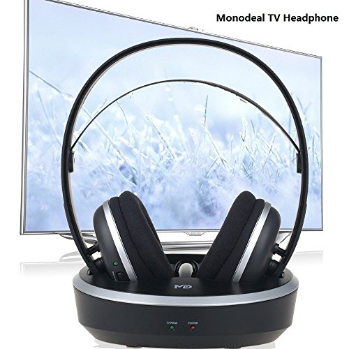 Stereo Digital Earphones (Wireless Universal TV Headphones, Monodeal Over-Ear Stereo RF Headphones with Charging Dock, Low Latency Volume Adjustable for Gaming TV PC Mobile, 25hr Battery Sound -1 Year Warranty)