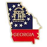 PinMart's State Shape of Georgia and Georgia Flag Lapel Pin 1-1/4''