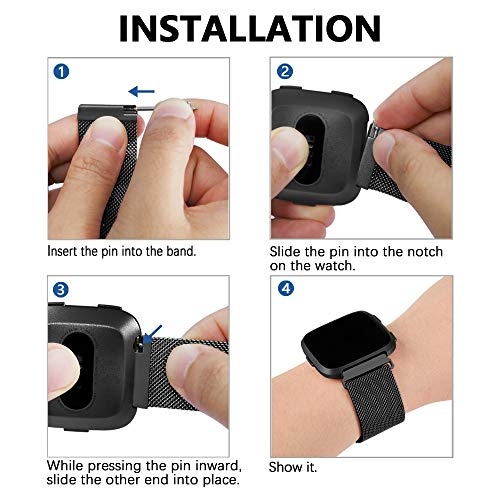 Stainless Steel Loop Metal Mesh Bracelet Unique Magnet Lock Wristbands iGK Metal Replacement Bands Compatible for Fitbit Versa//Versa Lite Edition