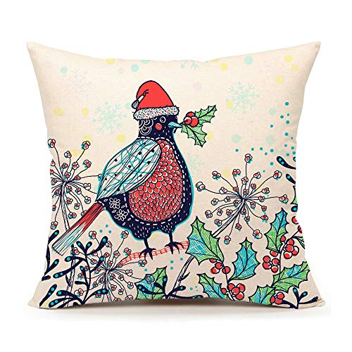 4TH Emotion Funny Bird in a Red Santa Claus Hat Christmas Throw Pillow Cover Cushion Case for Sofa Couch 18 x 18 Inch Cotton Linen