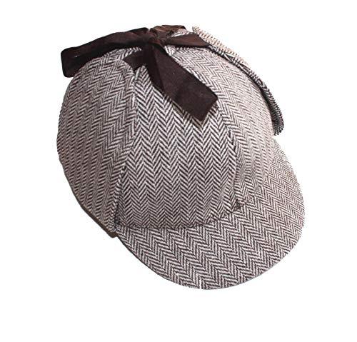 Sherlock Holmes Hat Unisex Winter Wool Berets for Men Deerstalker Tweed Cap Accessories British Detective Hat