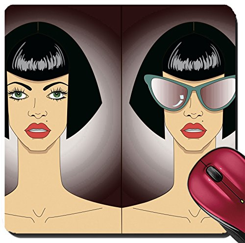 Liili Suqare Mousepad 8x8 Inch Mouse Pads/Mat Women faces in sunglasses - Face Glasses For Your Find