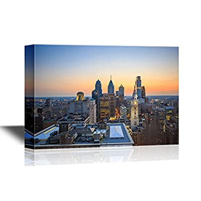 USA City Skyline Canvas Wall Art - Skyline of Downtown Philadelphia at Sunset - Gallery Wrap Modern Home Art | Ready to Hang - 12x18 inches