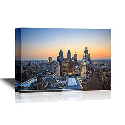 Stunning Artistry, USA City Skyline Skyline of Downtown Philadelphia at Sunset, Top Quality Design