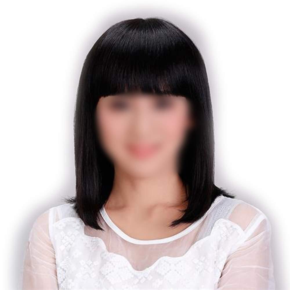 Yrattary レディースショルダーストレートヘア前髪付きリアルナチュラルスウィートフルウィッグコンポジットヘアレースウィッグロールプレイングウィッグロング&ショート女性自然 (色 : Natural black) B07S8MBZNT Natural black