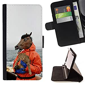 For Samsung Galaxy S5 Mini, SM-G800 Horse & Cat - Funny Meme - Yolo Lol Wtf Troll Style PU Leather Case Wallet Flip Stand Flap Closure Cover