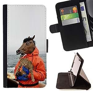 BullDog Case - FOR/Sony Xperia Z1 L39 / - / Horse & Cat - Funny Meme - Yolo Lol Wtf Troll /- Monedero de cuero de la PU Llevar cubierta de la caja con el ID Credit Card Slots Flip funda de cuer