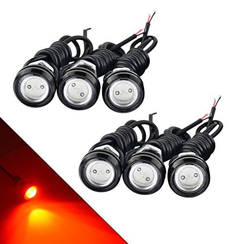 YITAMOTOR 6 x Red Eagle Eye Led Bulbs 18mm 9w High Power Eagle Eye Led Lights Daytime Running Lights Fog Light Bulb Eagle Eye Tail Lights for 12v Car Van - Eagle Eye Led Light