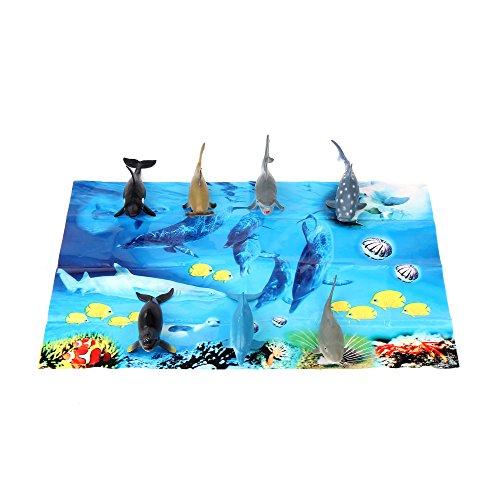 Fun Central AZ912 7ct 5 Inch Sharks Tub, Shark Toy Set, Shark Bath Tub, Shark Toys for Kids, Ocean Themed Party, Science Project, Marine Life, Sea Creature, Plastic Animal -