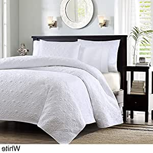 3 piece 104 x 94 extra wide white quilted coverlet king set oversized bedding. Black Bedroom Furniture Sets. Home Design Ideas