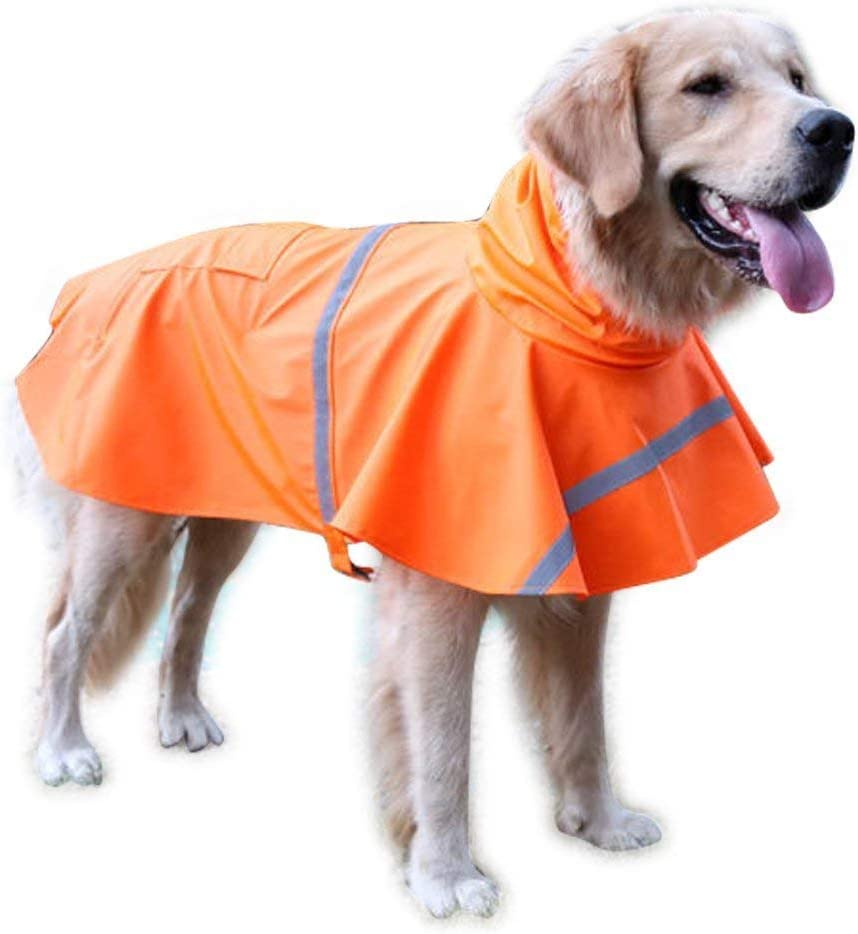 NACOCO Large Dog Raincoat Adjustable Pet Water Proof Clothes Lightweight Rain Jacket Poncho Hoodies with Strip Reflective/…