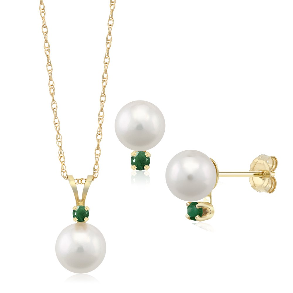 14K Yellow Gold 7mm Cultured Akoya Pearl Jewelry Set with Emerald Accents by Gem Stone King