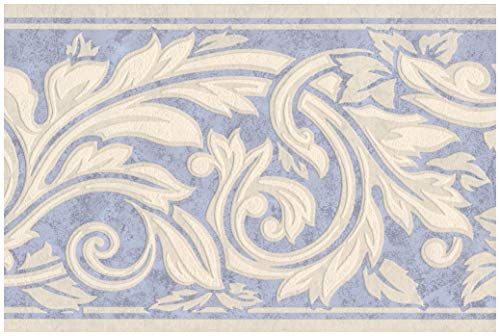 (Wall Border - Cream White Damask Vines and Leaves on Mauve Blue Wallpaper Border Retro Design, Prepasted Roll 15 ft. x 7 in.)