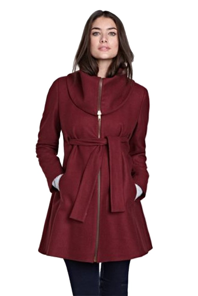 Isabella Oliver Sophie Maternity Zip Up Coat - Wine - Small by Isabella Oliver