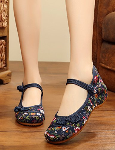 Stamp Chaussures Bleu Small Flats Jane Fowers Semelle Casual Femmes Chinois Mary Souple Noues Canvas OIYCgq