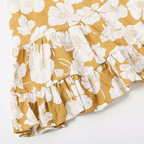 Yellow Printing Summer Mini Floral Dress Ladies Sleeveless Beach KIMODO Dress Women OwqPvfC