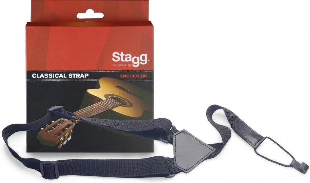 Stagg SNCL001-BK Guitarra clásica con correa de ukelele - Negro