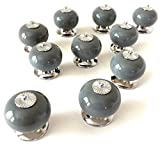 Grey Ceramic Cabinet Knobs – Set of 10 Round Matching Drawer Pulls with Modern Chrome Hardware for Dressers Kitchen Cupboards Home Furniture and Doors by Teacake