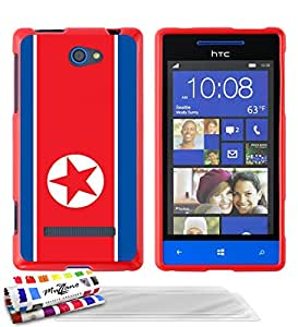 """Carcasa Flexible Ultra-Slim HTC 8S de exclusivo motivo [Bandera Corea del Norte] [Roja] de MUZZANO  + 3 Pelliculas de Pantalla """"UltraClear"""" + ESTILETE y PAÑO MUZZANO REGALADOS - La Protección Antigolpes ULTIMA, ELEGANTE Y DURADERA para su HTC 8S"""