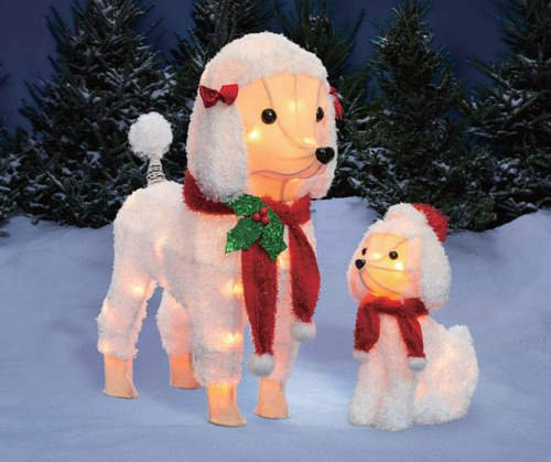 (Set of 2 White Fuzzy Poodle Dog Figures Sculptures Outdoor Christmas Yard Lawn Decoration Seasonal Display)