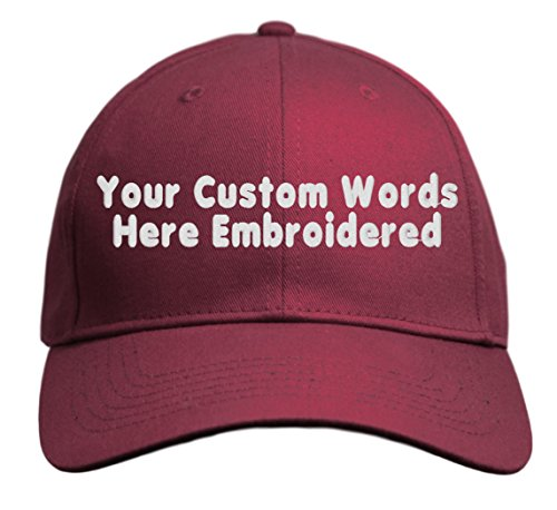 Custom Hat, Embroidered. Your Own Text. Adjustable Back. Curved Bill (Maroon)