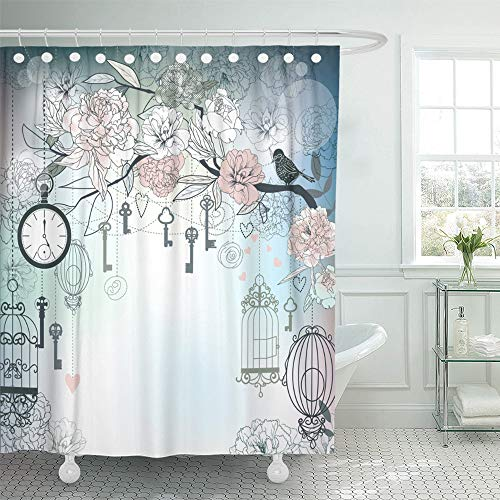 Emvency Shower Curtain Waterproof Adjustable Polyester Fabric Pink Vintage Floral Birds Cages Clock Keys Peonies Love Birdcage Birthday Tree 72 x 72 Inches Set with Hooks for Bathroom (Vintage Bird Cage Shower Curtain)
