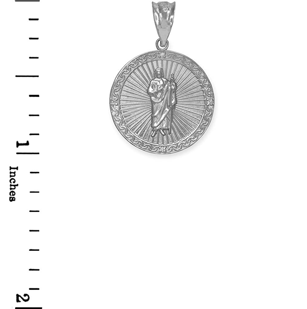 Small Sterling Silver Saint Jude Thaddeus CZ Round Medal Charm Necklace