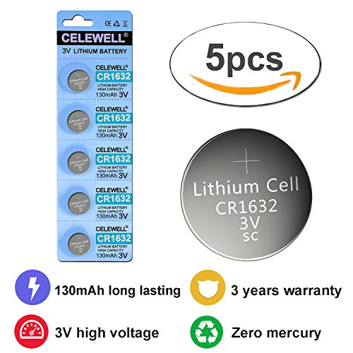 CR1632 3 Years Warranty Remote Key Fob 3v Lithium Watch Battery CELEWELL Brand 5 Pack Button Coin Cell Batteries.