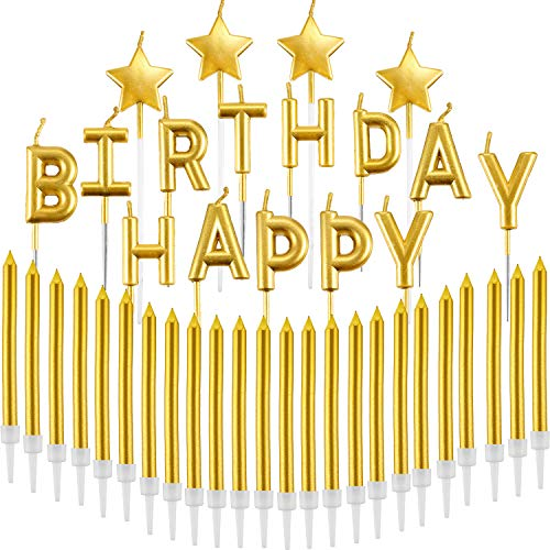 Star Birthday Cake (Maitys 41 Pieces Gold Candles Set Happy Birthday Letters Candles Glitter Stars Candles Long Thin Cupcake Candles for Birthday Cake Topper Decoration)