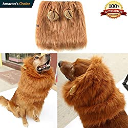 Kakasogo 1 Pcs 2017 New Brown Lion Mane Wig With Ear for Dog Costume Party Club Halloween Christmas Festival Pet Decor Gift Supplies Hair Head Tool Set Adjustable Size Fit more King Dogs