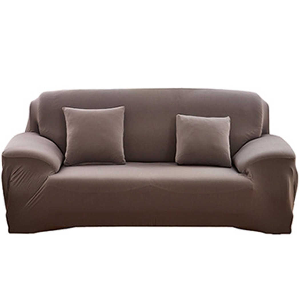 Raylans 1 2 3 4 Seater Solid Sofa Covers Sofa Slipcovers Protector Elastic Polyester Fabric Featuring Soft Form Fit Couch Covers Coffee 35x55 inch BRT-JJ107-Coffee-1P
