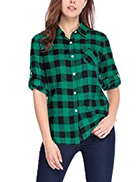 Allegra K Women's Roll Up Sleeves Buttoned Boyfriend Plaids Shirt