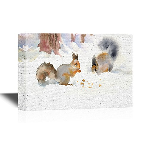 - wall26 - Canvas Wall Art - Winter Squirrels Eating Nuts in The Snow - Gallery Wrap Modern Home Decor | Ready to Hang - 12x18 inches