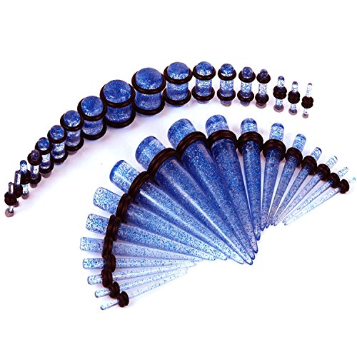(BodyJ4You 36PC Gauges Kit Ear Stretching 14G-00G Light Blue Glitter Acrylic Taper Plug Body Piercing )