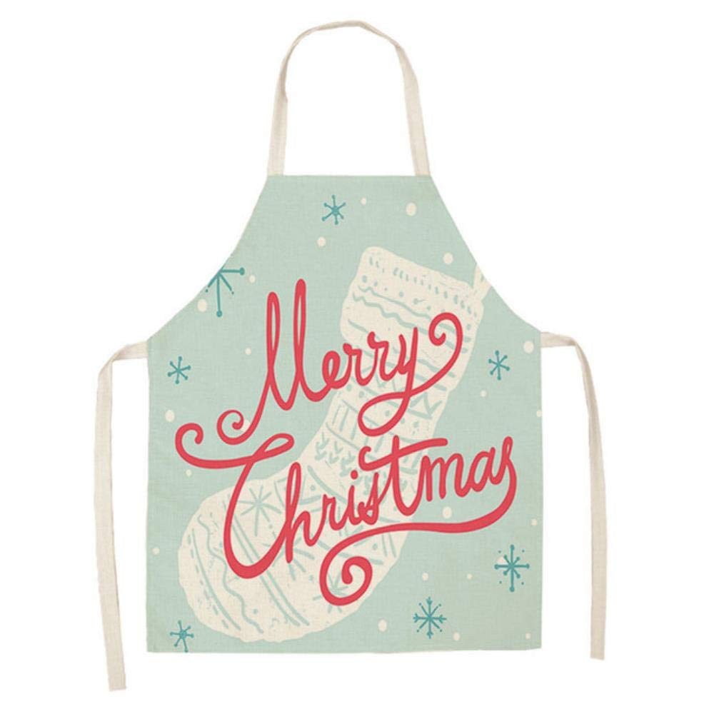 1-11 DYTJ-Aprons 1Pcs Delantal De Feliz Navidad para Mujer Delantales De Lino De Algod/ón con Delantal 53 65Cm Baberos para Adultos Accesorios De Cocina para Hornear