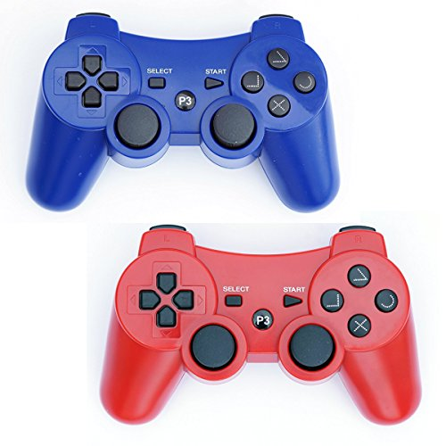 (PS3 Controller Wireless 2 Pcs Double Shock Gamepad for Playstation 3, Sixaxis wireless PS3 Controller (Red + Blue))