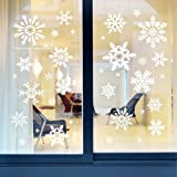 Amao Christmas Snowflake Sticker Window Clings Decorations Ornaments Party Supplies 81Pcs