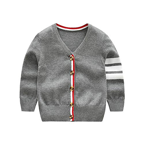 Baby Boy Girl Sweater Children Cardigan Button-Down Coat 100% Organic Cotton Outfit Long Sleeve V-Neck Jacket Spring Crochet Top 2-3T (Light Grey, 100) ()